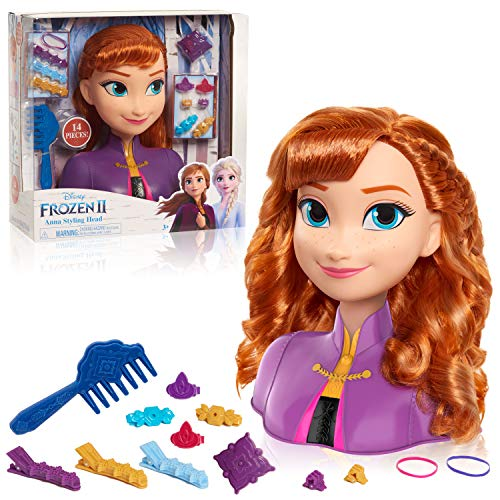 JP Disney Styling- Frozen 2 Anna Styling Head, Color, 26.5 x 27 x 12cm (Flair Leisure Products FRND3000)