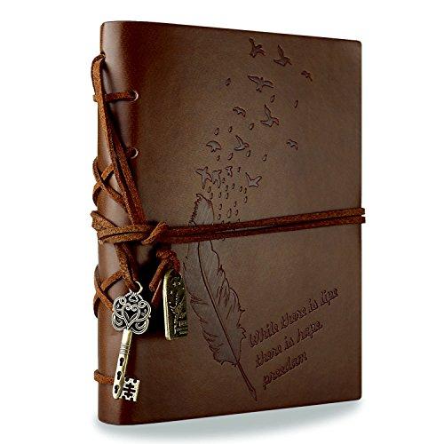 RYMALL Cubierta de cuero de la vendimia retro Notebook llave mágica Cadena 160 en blanco Jotter Diary (Brown)