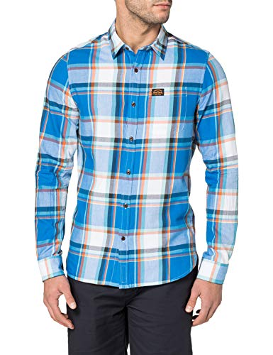 Superdry M4010347A Camisa Abotonada, Chambray Blue Check, XL para Hombre