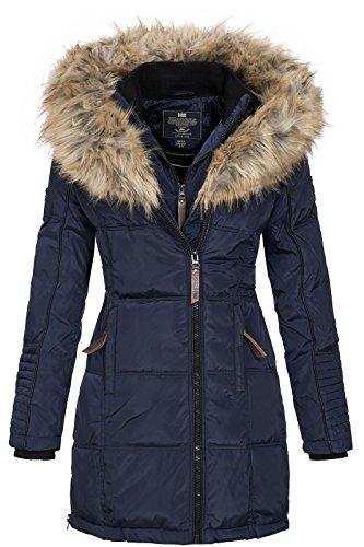 Geographical Norway BEAUTIFUL LADY - Parka cálida mujer - Abrigo grueso capucha de piel falsa - Chaqueta de invierno - Chaqueta larga con forro cálido - Regalo para mujer Moda casual (Azul marino M)