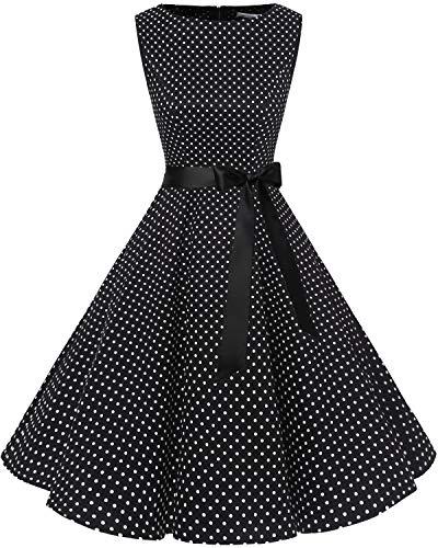 Bbonlinedress 50s Vestidos Vintage Retro Rockabilly Clásico Black White Dot XS