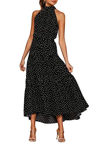 Eledobby Vestidos Largos con Cuello Halter para Mujer Polka Dot/Estampado Floral Vestido con Cinturón Sin Mangas Boho Vestido De Verano Casual Primavera Verano Ropa Negro M