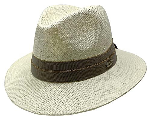 Sombrero Panamá Clasico con Cinta Cruzada Beige, Sombrero de Verano, Sombrero de Primavera, Sombrero para Sol, Hombre, Mujer, Unisex, Verano, Primavera, Sombrero Panama, Color Ivory Talla 60