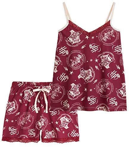 HARRY POTTER Pijamas Mujer, Conjunto 2 Piezas Camiseta Tirantes y Shorts, Pijama Mujer Algodon 100%, Merchandising Oficial Regalos para Mujer y Adolescentes (Granate, M)