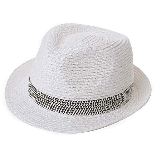Comhats Paja Unisex Sombrero Hombres Empacables Mujeres Fedora Trilby Panamá Verano ala Corta Blanco L