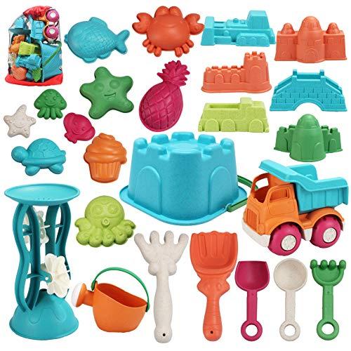 JOYIN - Juego de 25 juguetes para arena de playa, con bolsa de malla que incluye cubo, coche, palas, rastrillos, regadera, moldes para niños, verano, playa, diversión