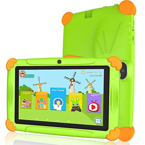 Tablet niños con WiFi 3 GB Ram 32 GO ROM Tablet para niños 7 Pulgadas Android10.0 Google Play y Control Parental, Youtube, Quad Core Tableta - Verde