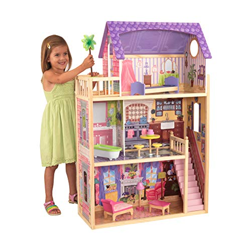 KidKraft 65092 Casa de muñecas de madera Kayla para muñecas de 30 cm con 10 accesorios incluidos y 3 niveles de juego