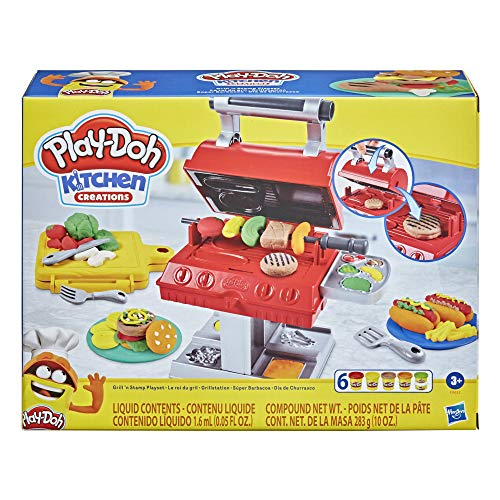 Play-Doh Kitchen Creations Grill 'n Stamp Juego para niños de 3 años en adelante con 6 Colores compuestos de Modelado no tóxicos y 7 Accesorios de Juguete para Barbacoa, Multicolor
