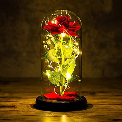 Yuning Kit de Rosas La Bella y la Bestia, Rosa de Seda roja con luz LED, Elegante Cúpula de Cristal con Base Pino para la decoración del hogar Boda Cumpleaños Día de San Valentín