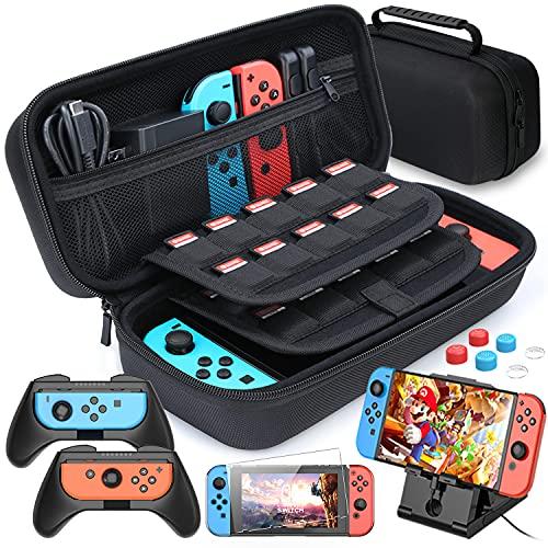 HEYSTOP Funda Compatible con Nintendo Switch, Estuche portátil Incluye 2 Grips Compatible con Nintendo Switch , PlayStand ajustable, Protector de Pantalla con 6 Tapas de Agarre para Pulgar