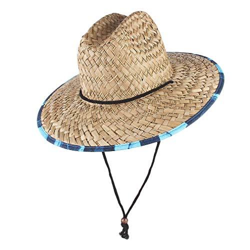 GEMVIE Sombreros Paja de Sol Playa para Hombre ala Ancha Verano Unisexo Estilo Socorrista Gorro para Campo/Pesca/Jardin (Beige)