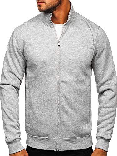 BOLF Hombre Sudadera Cierre de Cremallera Pulóver Cuello Elevado Jersey Blusa Sudadera de Algodón Estilo Deportivo B002 Gris L [1A1]
