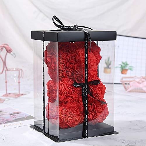SUPERMOLON Oso de Rosas Foam 25cm con Caja de Regalo y Lazo - Rose Bear Oso Rosas Artificiales - Regalo San Valentín, Enamorados, Aniversario, Amor, Cumpleaños (Rojo)