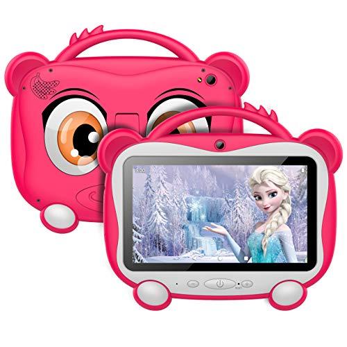 GOODTEL Tablet para Niños 7 Pulgadas Tablet Infantil Android 10.0 Quad-Core Processor, 16GB ROM, HD Pantalla1024*600 Doble Camera(0.3MP+2MP) 3G,WiFi,GPS,Certificación Google,Juegos Educativos-Rosado