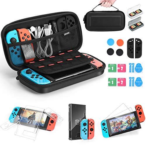 iAmer 11 en 1 Accesorios para Nintendo Switch,Funda para Nintendo Switch+Carcasa Switch Transparente+2 Cristal Templado Pantalla+Funda de Silicona+4 Pulgar Grips+2 Estuche De Juegos+Paño de Limpieza