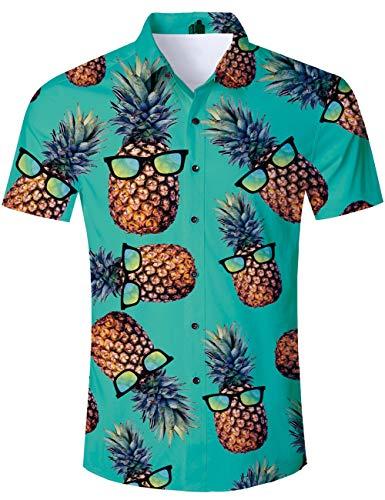TUONROAD Camiseta Hawaiano para Hombre Fiesta de Piña 3D Shirt Manga Corta Casual Tops Camisa Piña XXL