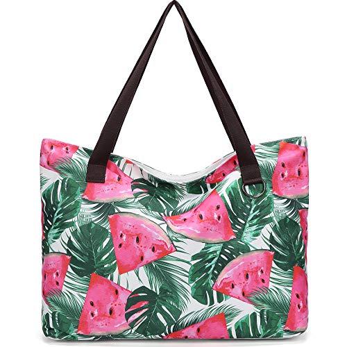 JANSBEN Bolsa de Playa Grande con Cremallera XXL Shopper Bolsa de Hombro Bolsos Totoes Bolso de Mano para Mujer Hombre (sandía)