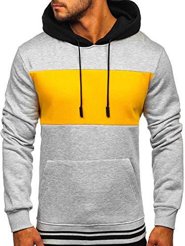 BOLF Hombre Sudadera Cerrada con Capucha Pulóver de algodón Hoodie Jersey Suéter Blusa Estilo Deportivo J.Style KS2179 Gris L [1A1]