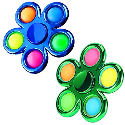 FOYOCER Bubble Pop Fidget Spinner Sensorial Fidget Toys Mirada de Metal Sensorial Fidget Juguetes Antiestrés para Niños Adultos (Azul+Verde)