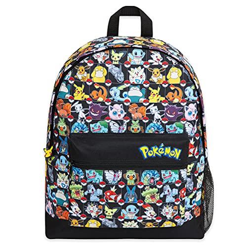 Pokemon Mochilas Escolares, Mochila Niño con Pikachu, Pokeball Y Pokémons, Mochila Infantil para Colegio Deporte Viajes, Regalos Para Niños y Adolescentes (Multicolor)