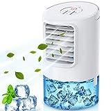 Mini Enfriador de Aire,4 en 1 Aires Acondicionados Móviles Personal,Climatizador Evaporativo Portátil,con 2 Temporizador Silencioso,3 Velocidades,7 Colores Luz para Hogar, Oficina