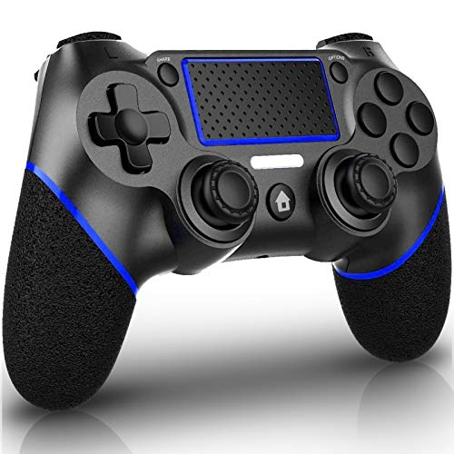 QULLOO Mando Inalámbrico para Ps4, Controlador Bluetooth con Vibración Doble / 6-Ejes/Puerto de Audio Remoto/Panel Táctil, Joystick Gamepad Compatible con Play Station 4 / Pro/Slim (Azul)