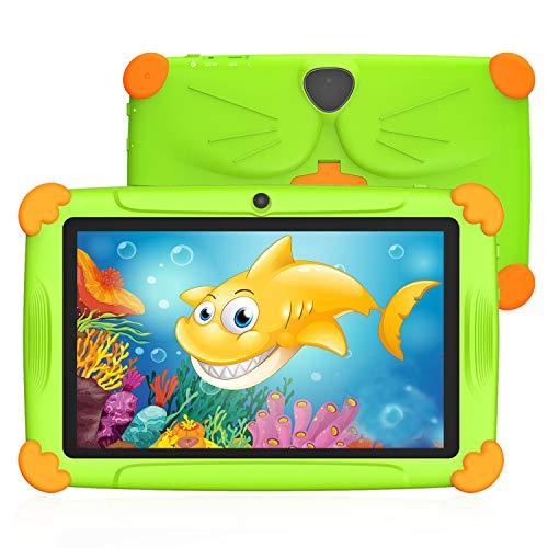 Tableta para Niños de 7 Pulgadas 3 a 12 años Android 9.0 con WiFi 3GB RAM 32GB ROM Quad Core Kid-Proof Ángulo Netflix GMS Certificado Google Play Juegos Educativos Preinstalado - Verde