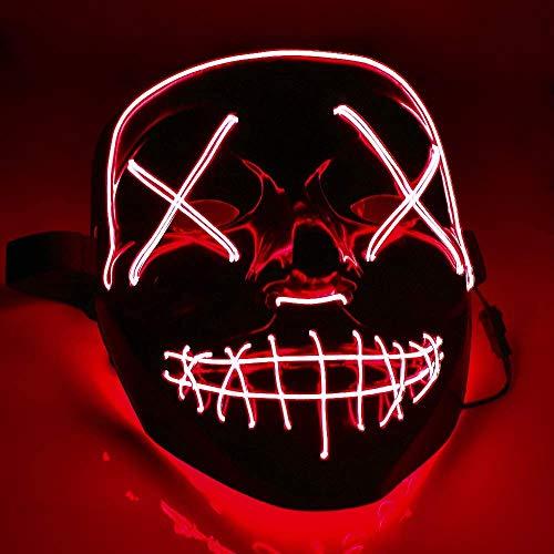 TK Gruppe Timo Klingler Máscara de terror LED roja - como de Purge con 3 efectos de luz, controlable, para Halloween como disfraz para hombres y mujeres (red)