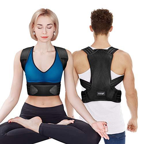 Corrector Postura Espalda, iThrough Corrector de Postura Espalda y Hombro para Hombre y Mujer, Faja Espalda Recta Soporte Talla Asjustable Transpirable