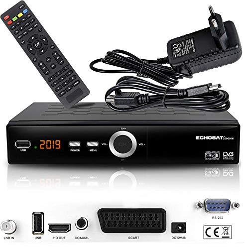 hd-line Receptor de satélite Digital Echosat 20900 M (HDTV, DVB-S/S2, HDMI, SCART, 2 Puertos USB 2.0, Full HD 1080p) [preprogramado para Astra, Hotbird, Türksat] Sencillo Echosat 20900 M Echosat 20900