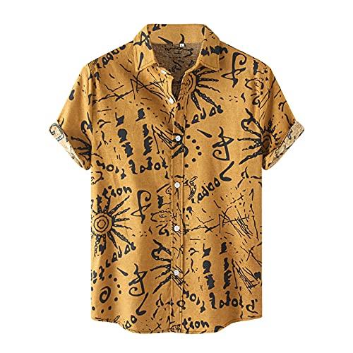 Dasongff Camisa hawaiana de manga corta para hombre, con estampado hawaiano, holgada, estilo retro impreso, para el tiempo libre, verano, informal, cómoda para la playa, para carnaval o fiestas
