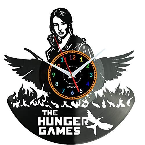 EVEVO The Hunger Games Reloj De Pared Vintage Diseño Moderno Reloj De Vinilo Colgante Reloj De Pared Reloj Único 12' Idea de Regalo Creativo Vinilo Pared Reloj The Hunger Games