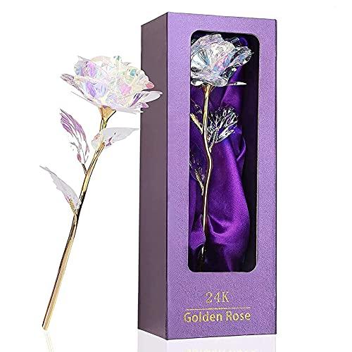 Rosa 24K,Regalo para Madres Rosa Eterna Flore,Rosa de Oro Chapada en Oro con Caja, Rose Flores Artificiales, Mujer, Novia,Esposa,el Día de San Valentín Aniversario para Amigos Regalo de Cumpleaños