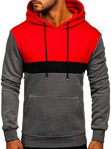 BOLF Hombre Sudadera Cerrada con Capucha Pulóver de algodón Hoodie Jersey Suéter Blusa Estilo Deportivo J.Style KS2167 Rojo M [1A1]