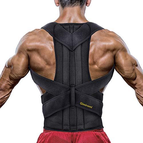 Corrector de Postura Gimiromi para Hombres y Mujeres, Reduce los Dolores de Cuello, Espalda, lumbares y Hombros, Refuerzo de Espalda Transpirable y Ajustable, con 2 Barras de Soporte para la Columna