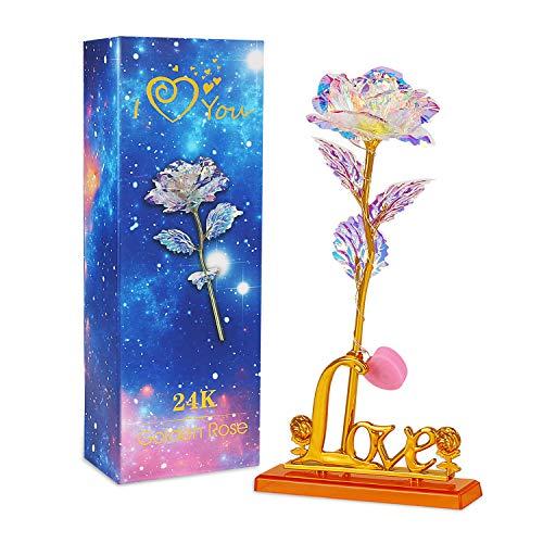 Zorara Rosa 24K, Rosa Eterna Flores Chapadas en Oro con Caja de Regalo para San Valentín, Día de la Madre, Aniversario, Cumpleaños, Navidad (Púrpura)