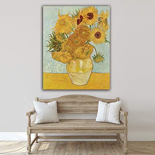 Desconocido Cuadro Lienzo Girasoles de Vicent Van Gogh 1888 – Varias Medidas - Lienzo de Tela Bastidor de Madera de 3 cm - Impresion Alta resolucion (48, 60)