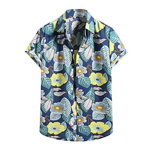 Daodan Camisa Hawaiana Florar Casual Manga Corta Ajuste Regular para Hombre,camisa hawaiana hombre manga larga