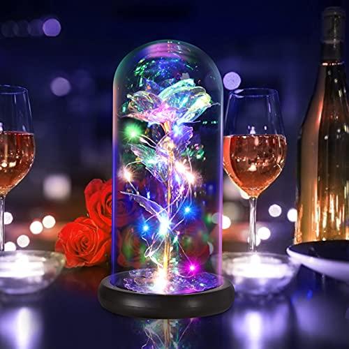 Augot Rosa Bella y Bestia, Lámina de Oro Colorida Rosa Eterna, Flores Artificiales en Cúpula de Cristal con Luces Galaxy Rose Regalo para Mamá, Abuela, Mujer, Día de la Madre, Día de San Valentín