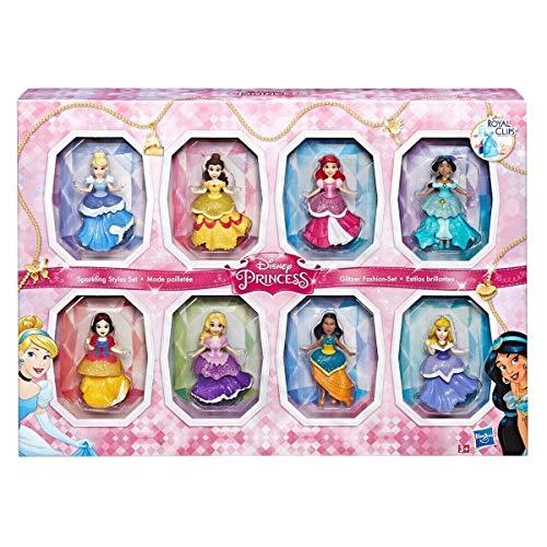 Disney COS1312433 Princesa Small 8 Muñecas Colección Espumoso Estilos Conjunto con Vestidos Clip