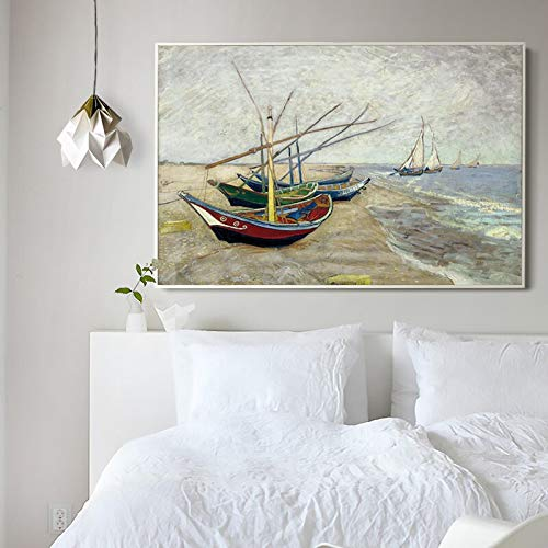 DeXin - Cuadro al óleo, elegante, poesía, vicent Van Gogh, barco, arte, impresión, pintura, pared, 50 x 75 cm, sin marco