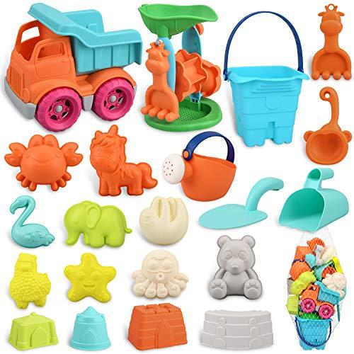 balnore Juguetes de arena para niños y niñas, juego de 22 juguetes de playa en bolsa de red reutilizable, caja de arena con cubo de coche, molinillo de arena y otras herramientas.