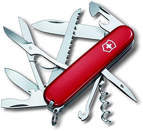 Victorinox Huntsman Navaja con 15funciones, incluyendo tijeras, sierra para madera y sacacorchos, color rojo
