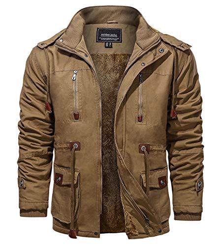 KEFITEVD Chaquetas de invierno para hombres de forro polar Windbeaker a prueba de viento con capucha bombardero chaqueta cargo Abrigos militares con múltiples bolsillos, caqui, L
