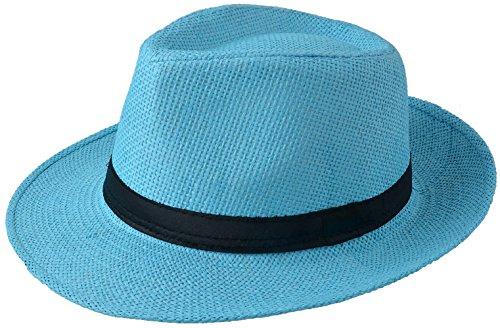 Miobo Sombrero de paja Panamahut Mountain Stroh sombrero de paja sombrero de verano azul celeste 58 cm