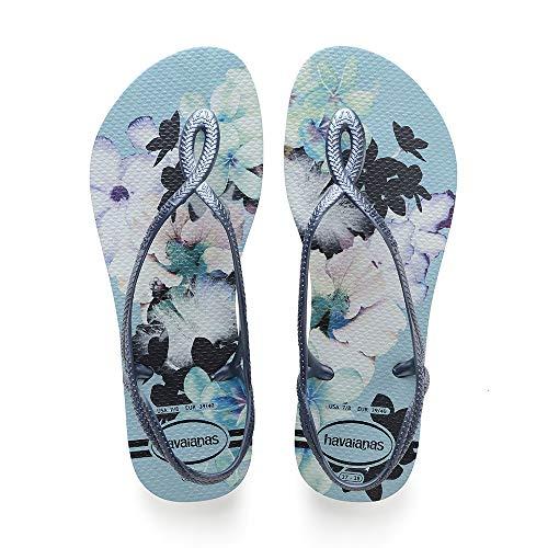 Havaianas Luna Print, Sandalias de Talón Abierto para Mujer, Multicolor (Blue Acqua), 35/36 EU
