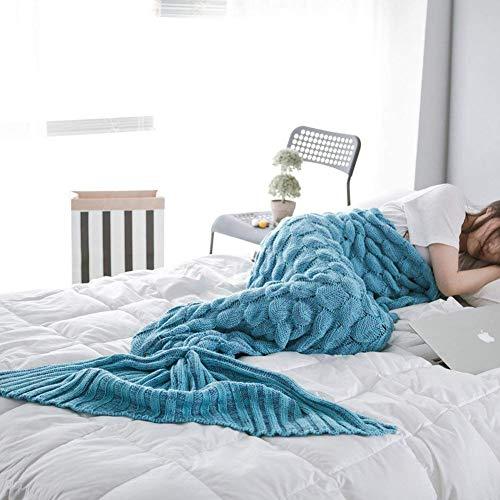 Manta de Cola de Sirena Adulto, Hecho a Mano de Ganchillo Sofá Cola de Pescado Sirena Mantas Saco de Dormir para Mujeres Niña Señora 200 x 90cm (78.7*35pulgadas) (Azul)