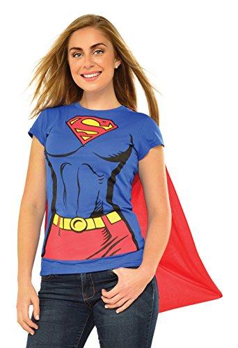 Rubies Juego de camiseta oficial de DC Comic Supergirl, kit de disfraz instantáneo para mujer – camiseta y capa adjunta, talla XL