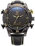 Shark SH263 - Reloj Hombre de Cuarzo, Correa de Cuero Negro, Esfera Negra, Alarma